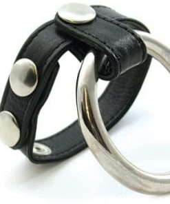 Black Leather and Metal Double Cock Ring