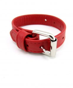 Red Leather Cock Ring with Buckle